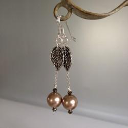 Boucles d'Oreilles Pendant chaîne Argent  Perles Nacrées Swarovski Bronze