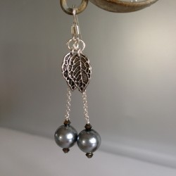 Boucles d'Oreilles Pendant chaîne Argent  Perles Nacrées Swarovski Gris