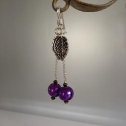 Boucles d'Oreilles Pendant chaîne Argent  Perles Nacrées Swarovski Violet