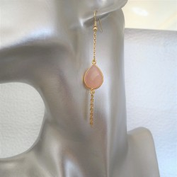 Art paris design boucles d'oreilles pendantes gouttes rose serties clos