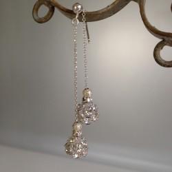 """Boucles d'Oreilles Pendant chaîne Argent  Perles """"Diamant"""""""