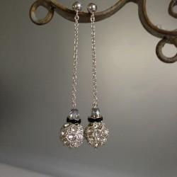 Boucles d'Oreilles Pendant chaîne Argent  Perles Swarovski Diamant & Noir