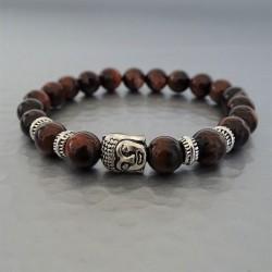 Bracelet perles Oeil de Taureau marron et Buddha