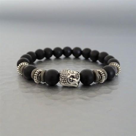 Bracelet perles  Agate noire mate et Buddha