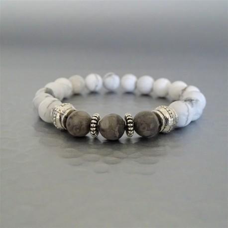 Bracelet perles Agate taupe et Howlite