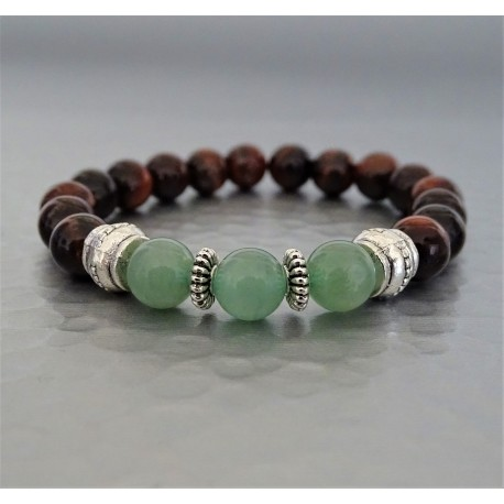 Bracelet perles Aventurine et Oeil de Taureau marron