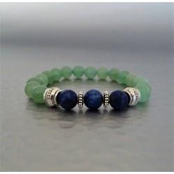 Bracelet perles lapis-lazuli givré et Aventurine