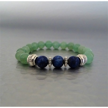 Bracelet perles lapis-lazuli et Aventurine