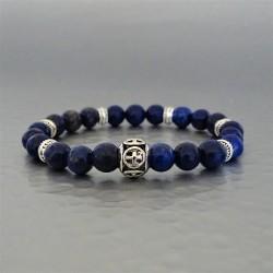 Bracelet perles Lapis-Lazuli et perle Croix de Malte