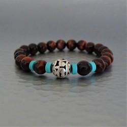 Bracelet perles  Oeil de Taureau  et  Howlite bleu