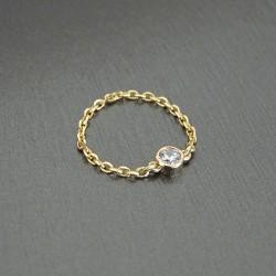 Bague chaîne Plaqué or zirconium cristal serti clos 5 mm plaqué or 18 carats