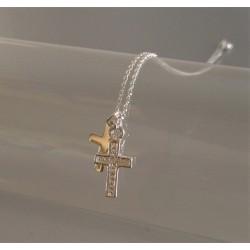 Collier Chaîne Argent Double Croix