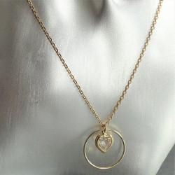 Collier Chaîne Anneau et zirconium coeur serti clos