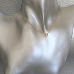 Collier Chaîne Pendant Solitaire et Zirconium Serti Clos Plaqué Or