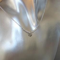 Collier chaîne mini perles diamantées petit coeur