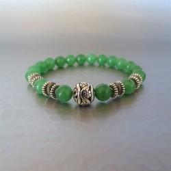 Bracelet perles Aventurine et Perle argent Tibétain