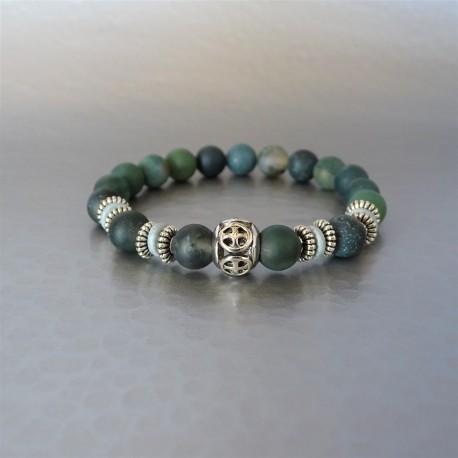 Bracelet perles Agate mousse et perle Croix de Malte