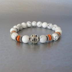 Bracelet perles Howlite blanche et Perle argent Tibétain