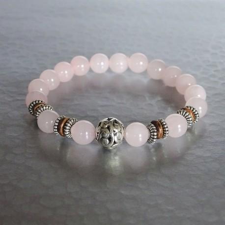 Bracelet perles Quartz rose et Perle Arabesque argent Tibétain