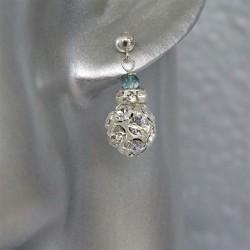 Boucles d'Oreilles Argent 925 Perles strass
