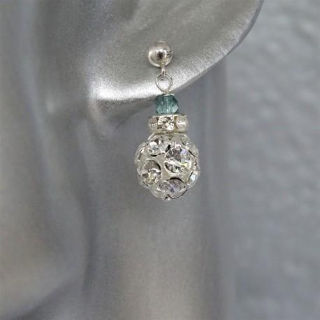 """Boucles d'Oreilles Argent Perles """"Diamant"""""""