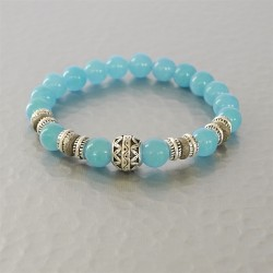 bracelet perles jade bleu perle argent tibetain