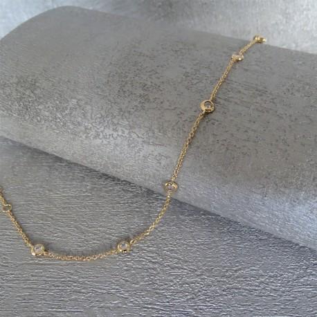 Bracelet Chaîne Multi Zirconiums Blanc Sertis Clos Plaqué Or