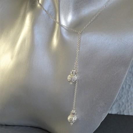 Collier Cravate Argent Perles Swarovski Strass Cristal