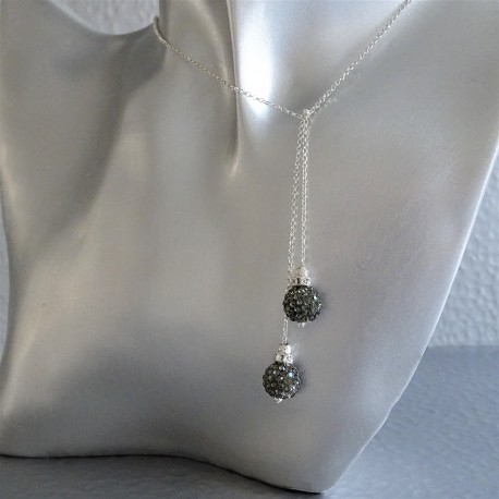 Collier Cravate Argent Perles Strass Anthracite
