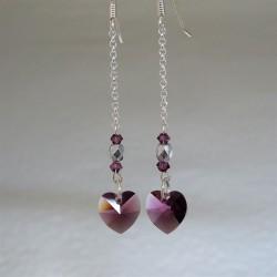 Boucles pendantes cœur Swarovski améthyste
