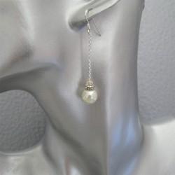 Boucles d'Oreilles Pendantes  Perle Nacrée Naturel