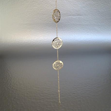 Bracelet Chaîne Plaqué Or reliant 3 Médaillons Arbesque