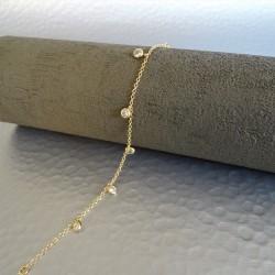 Bracelet pampilles zirconiums  Sertis Clos Plaqué Or