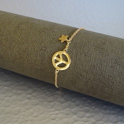 Bracelet Chaîne Plaqué Or Peace et Etoile