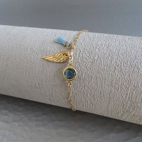Bracelet zirconium vert aile et mini pompon vert art paris design