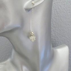 Boucles d'Oreilles Pendantes Perles Strass Cristal