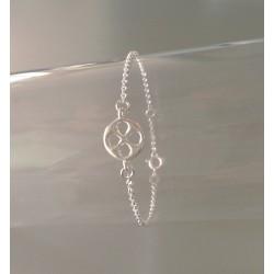 Bracelet Chaîne Argent Médaillon Ciselé Trèfle