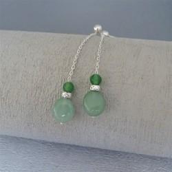 Boucles Pendantes perles aventurine et jade
