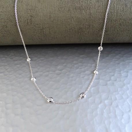 Collier Chaîne Argent Multi Zirconiums Cristal Sertis clos
