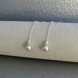 Boucles  Pendantes  Perles Argent
