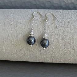 Boucles Pendantes Perle Hématite