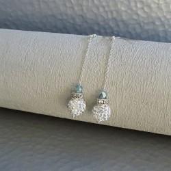 Boucles Pendantes Perles bleu et strass Cristal