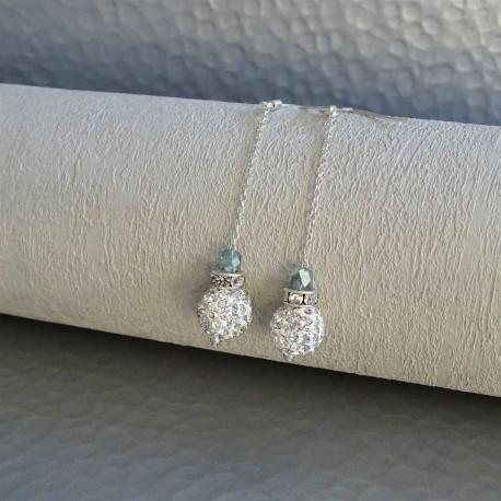 Boucles d'Oreilles Pendant chaîne Argent  Perles Strass Cristal