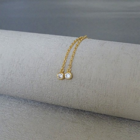 Boucles d'Oreilles Pendant chaîne solitaires plaqué or