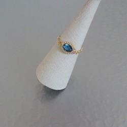 Bague Chaînette  zirconium ovale perlé bleu