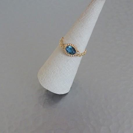 Bague Chaînette  mini strass Plaqué or
