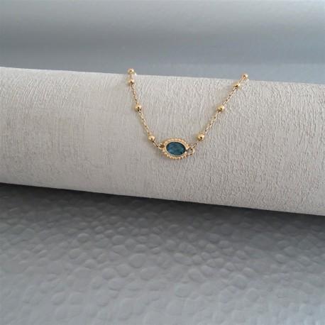 Collier mini boules zirconium ovale perlé bleu