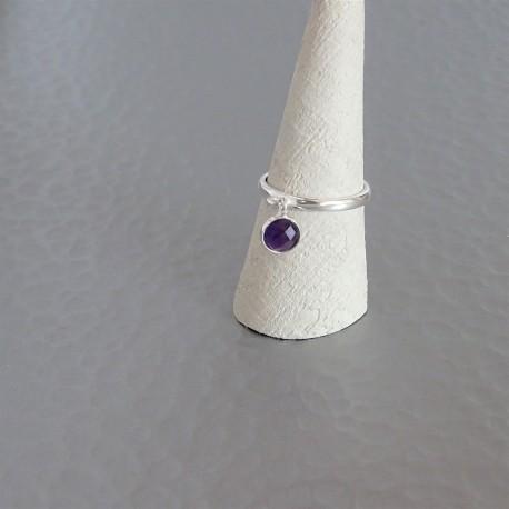 Bague anneau ajustable  Améthyste