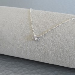 Collier solitaire  7 mm