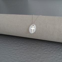 Collier Pastille nacre et croix argent